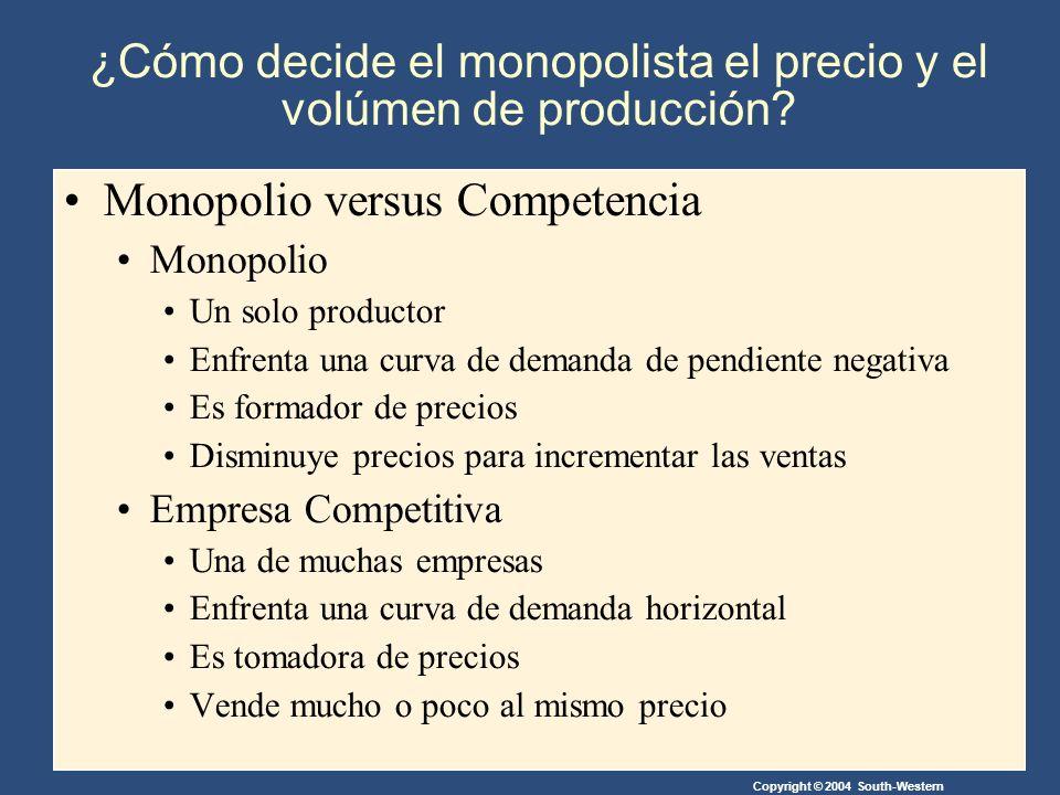 Copyright © 2004 South-Western ¿Cómo decide el monopolista el precio y el volúmen de producción.