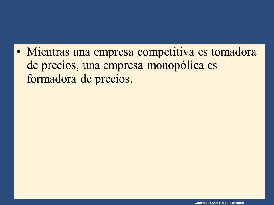 Copyright © 2004 South-Western Mientras una empresa competitiva es tomadora de precios, una empresa monopólica es formadora de precios.