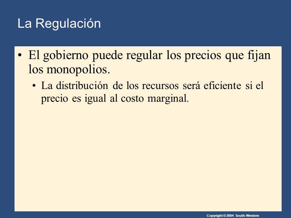 Copyright © 2004 South-Western La Regulación El gobierno puede regular los precios que fijan los monopolios.