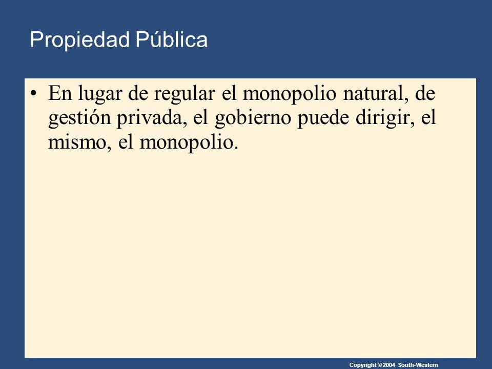 Copyright © 2004 South-Western Propiedad Pública En lugar de regular el monopolio natural, de gestión privada, el gobierno puede dirigir, el mismo, el monopolio.