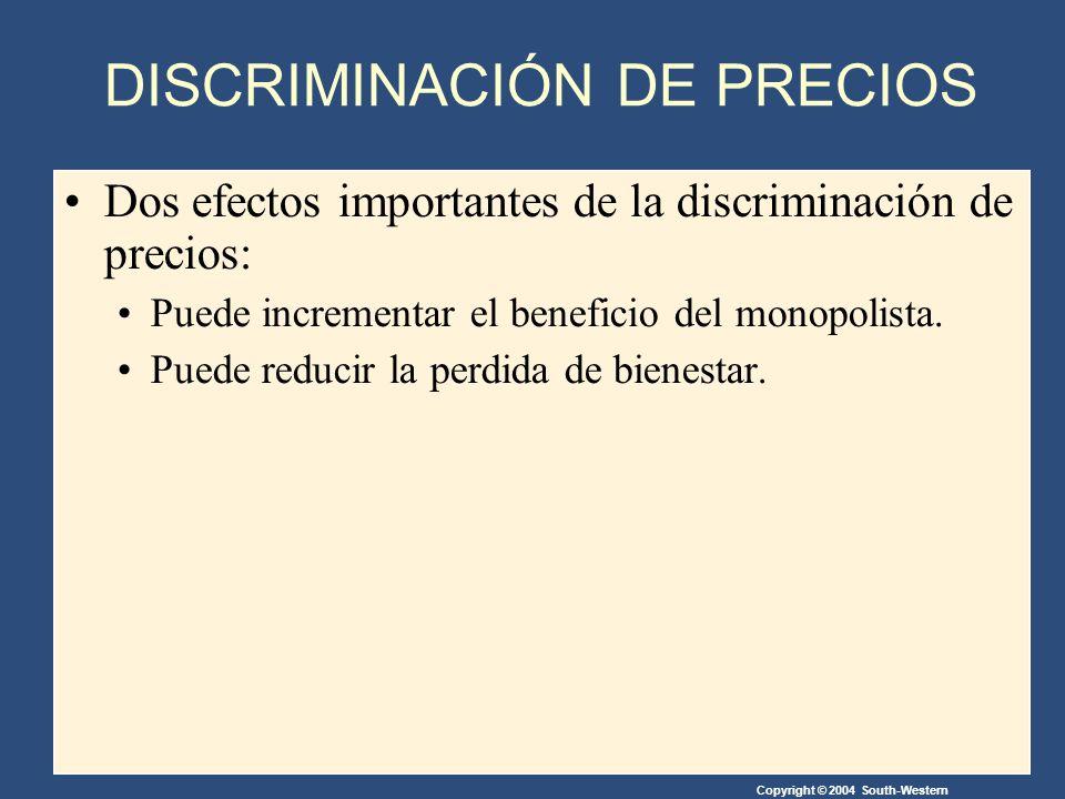 Copyright © 2004 South-Western Dos efectos importantes de la discriminación de precios: Puede incrementar el beneficio del monopolista.