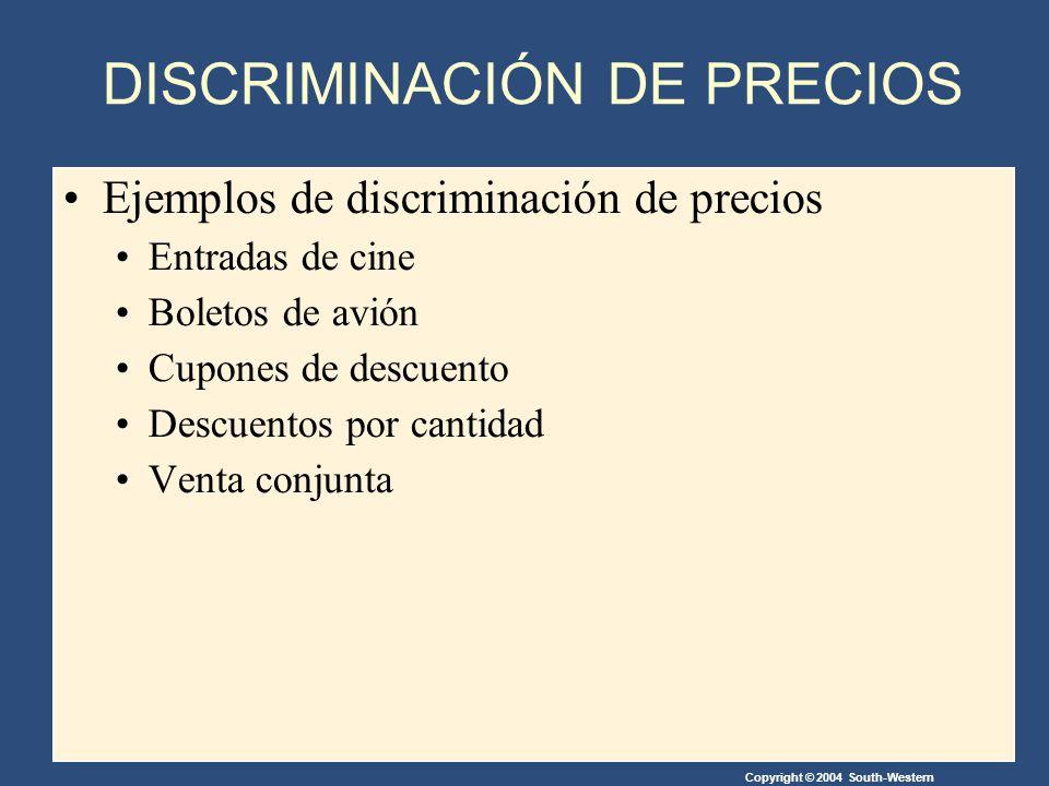 Copyright © 2004 South-Western Ejemplos de discriminación de precios Entradas de cine Boletos de avión Cupones de descuento Descuentos por cantidad Venta conjunta DISCRIMINACIÓN DE PRECIOS