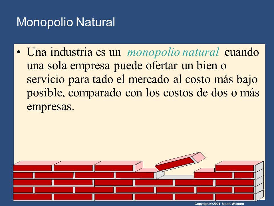 Copyright © 2004 South-Western Monopolio Natural Una industria es un monopolio natural cuando una sola empresa puede ofertar un bien o servicio para tado el mercado al costo más bajo posible, comparado con los costos de dos o más empresas.