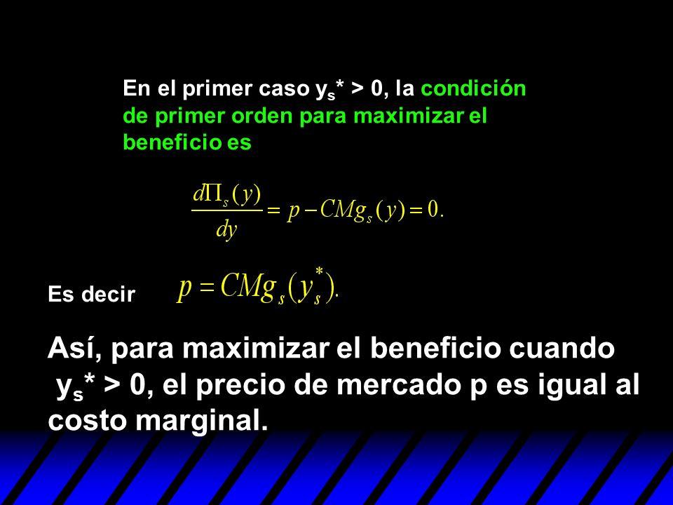 En el primer caso y s * > 0, la condición de primer orden para maximizar el beneficio es Es decir Así, para maximizar el beneficio cuando y s * > 0, e