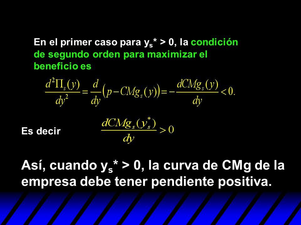 En el primer caso para y s * > 0, la condición de segundo orden para maximizar el beneficio es Así, cuando y s * > 0, la curva de CMg de la empresa de