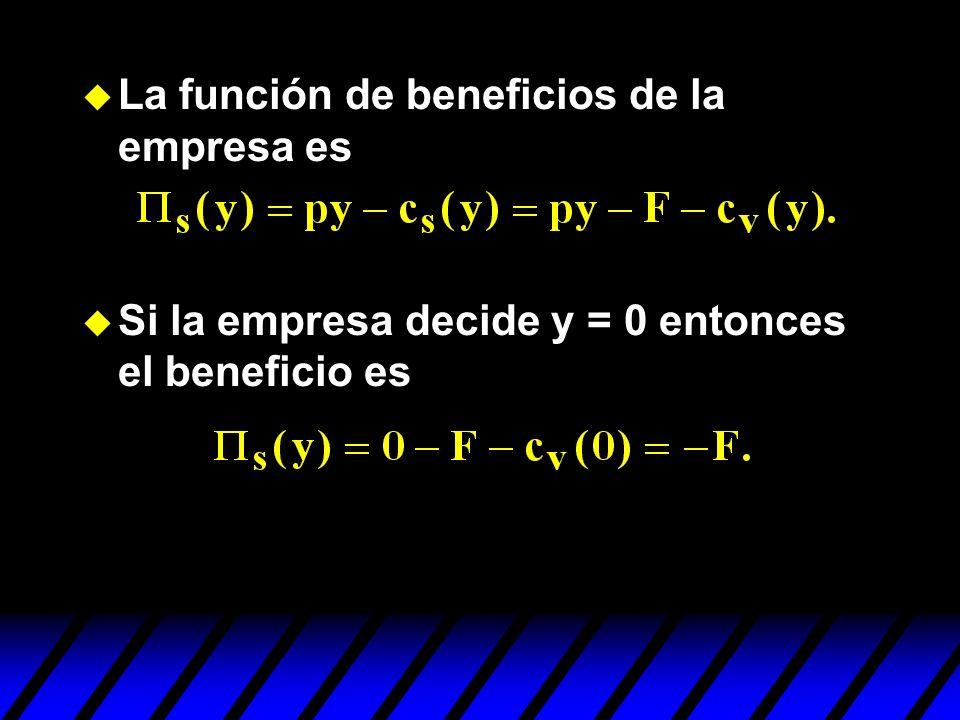 La función de beneficios de la empresa es Si la empresa decide y = 0 entonces el beneficio es