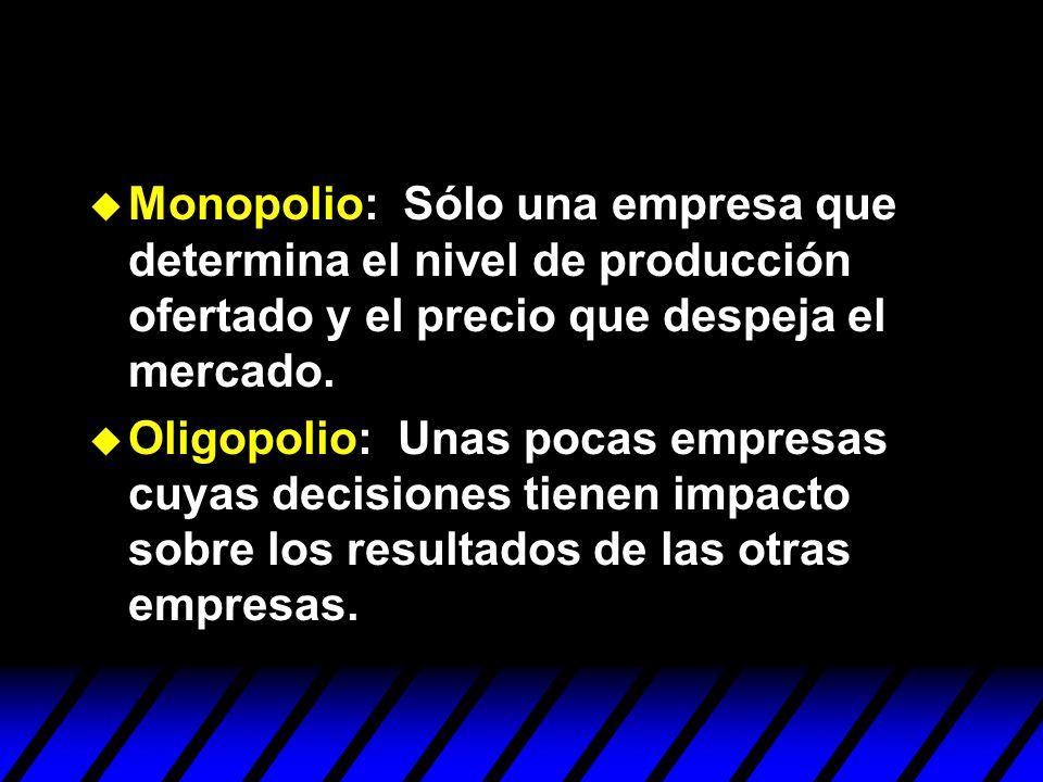 Monopolio: Sólo una empresa que determina el nivel de producción ofertado y el precio que despeja el mercado. Oligopolio: Unas pocas empresas cuyas de