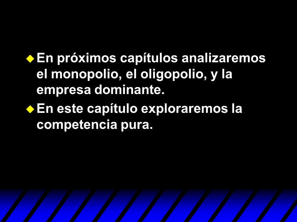 En próximos capítulos analizaremos el monopolio, el oligopolio, y la empresa dominante. En este capítulo exploraremos la competencia pura.