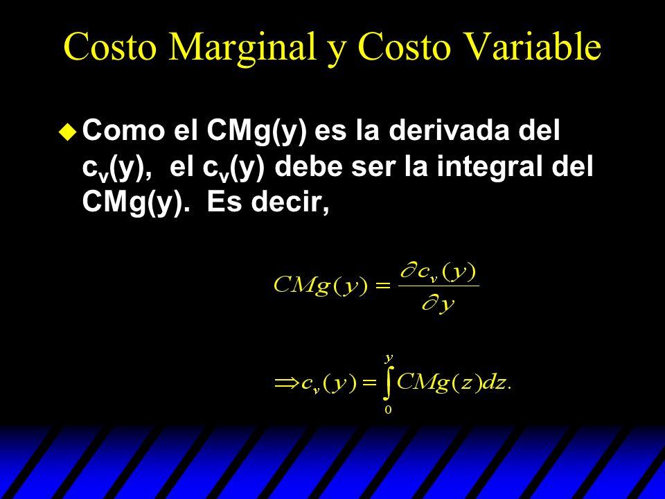 Costo Marginal y Costo Variable u Como el CMg(y) es la derivada del c v (y), el c v (y) debe ser la integral del CMg(y). Es decir,
