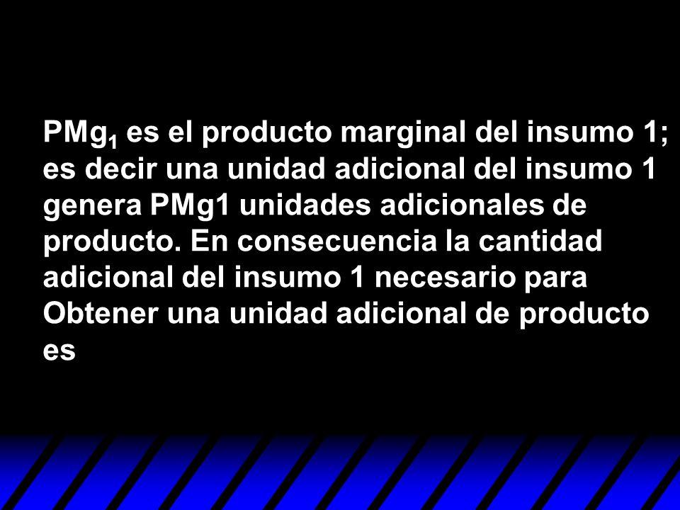 PMg 1 es el producto marginal del insumo 1; es decir una unidad adicional del insumo 1 genera PMg1 unidades adicionales de producto. En consecuencia l