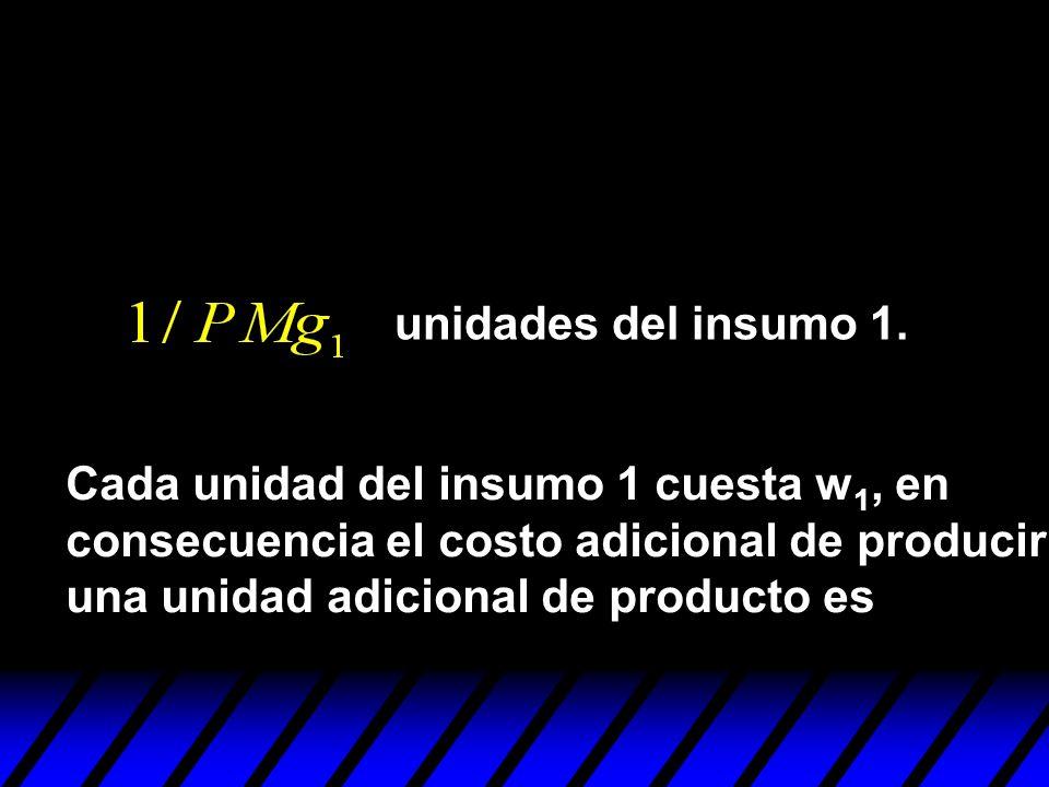 Cada unidad del insumo 1 cuesta w 1, en consecuencia el costo adicional de producir una unidad adicional de producto es unidades del insumo 1.