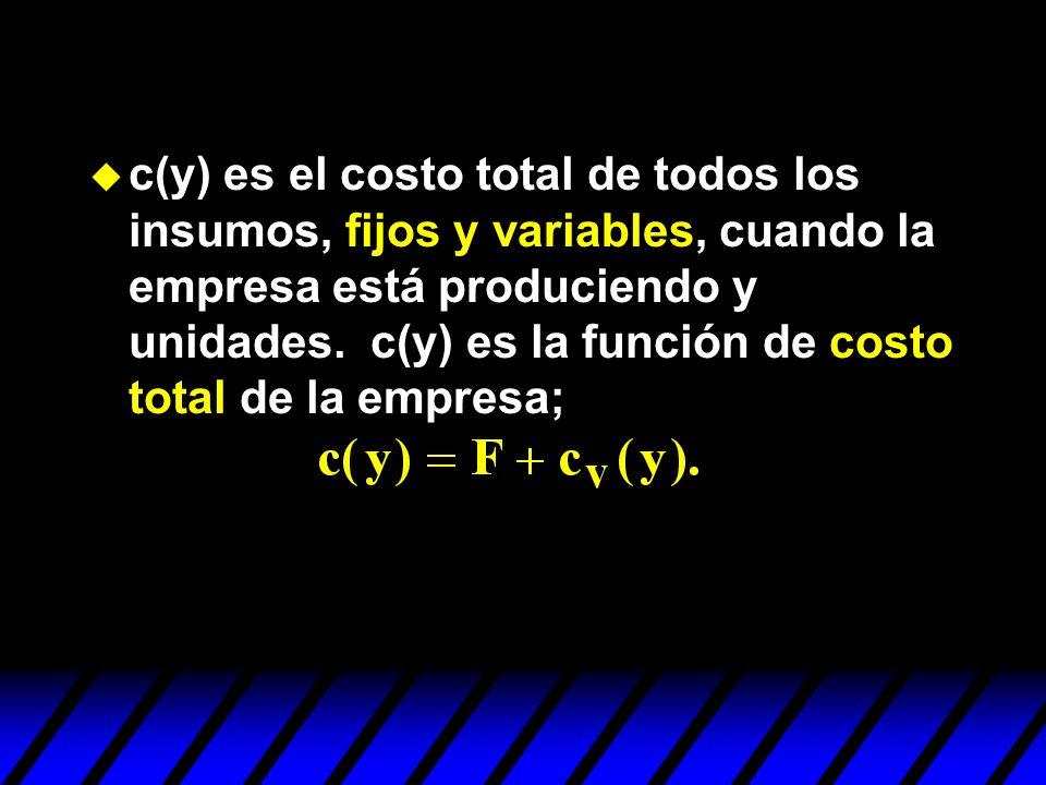 u c(y) es el costo total de todos los insumos, fijos y variables, cuando la empresa está produciendo y unidades. c(y) es la función de costo total de