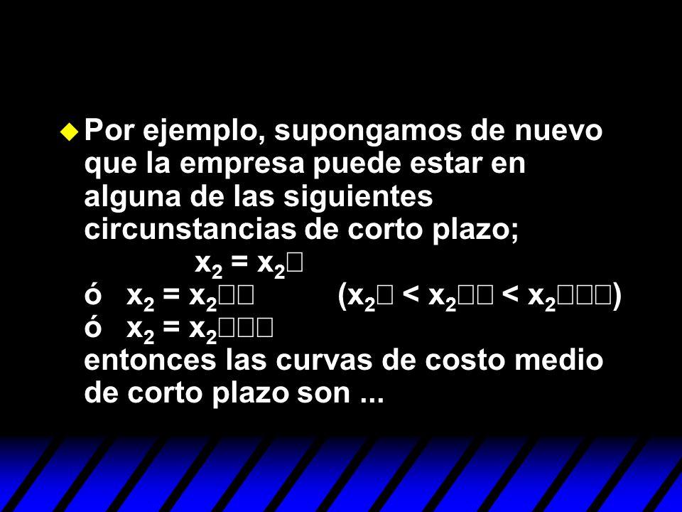 Por ejemplo, supongamos de nuevo que la empresa puede estar en alguna de las siguientes circunstancias de corto plazo; x 2 = x 2 ó x 2 = x 2 (x 2 < x