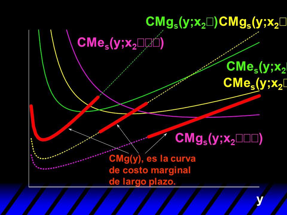 y CMg(y), es la curva de costo marginal de largo plazo. CMe s (y;x 2 ) CMg s (y;x 2 )