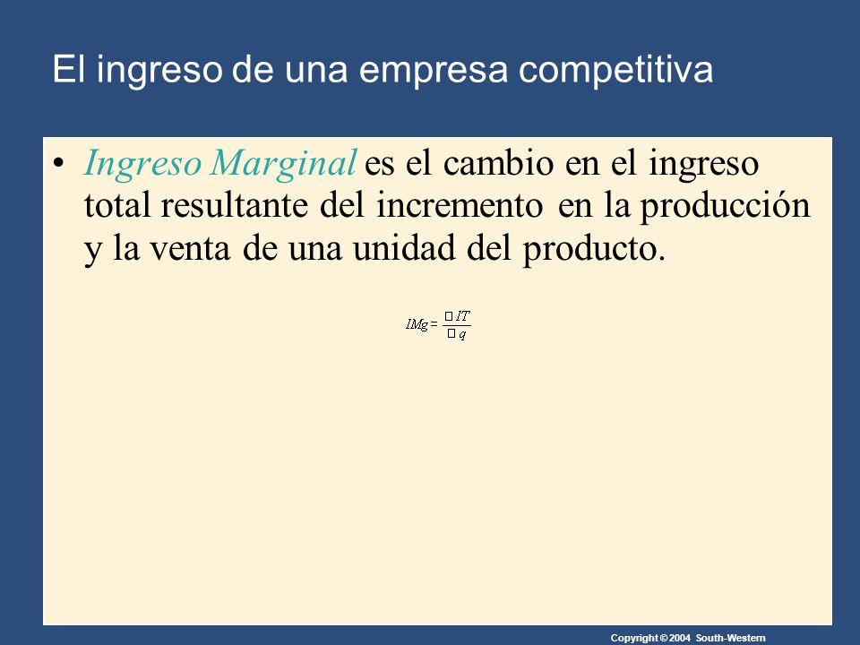 Copyright © 2004 South-Western Ingreso Marginal es el cambio en el ingreso total resultante del incremento en la producción y la venta de una unidad del producto.