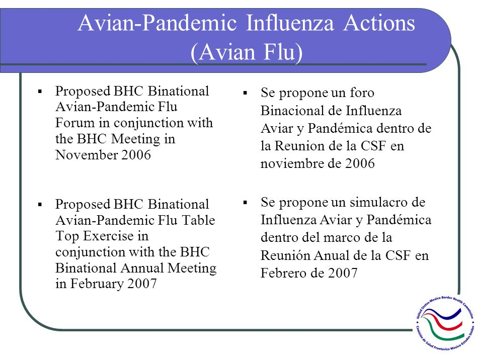 Avian-Pandemic Influenza Actions (Avian Flu) Proposed BHC Binational Avian-Pandemic Flu Forum in conjunction with the BHC Meeting in November 2006 Pro
