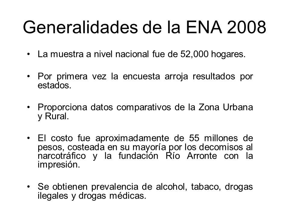 Generalidades de la ENA 2008 La muestra a nivel nacional fue de 52,000 hogares.