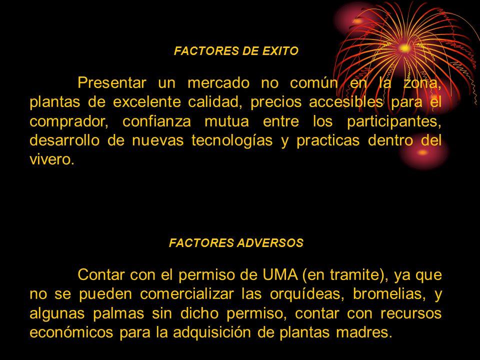 FACTORES DE EXITO Presentar un mercado no común en la zona, plantas de excelente calidad, precios accesibles para el comprador, confianza mutua entre