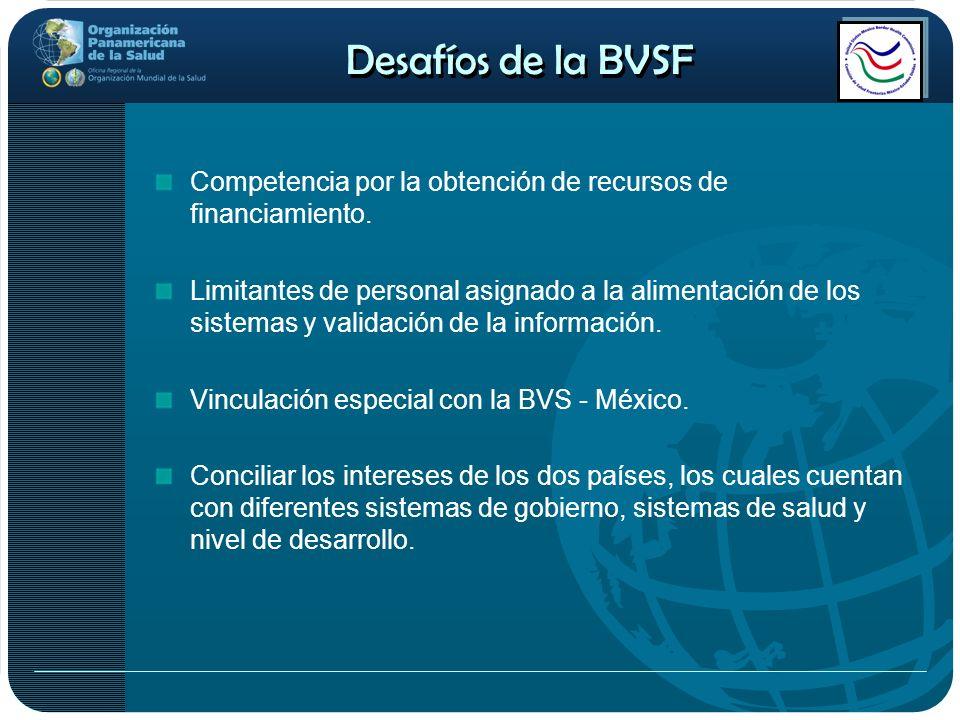 Desafíos de la BVSF Competencia por la obtención de recursos de financiamiento. Limitantes de personal asignado a la alimentación de los sistemas y va