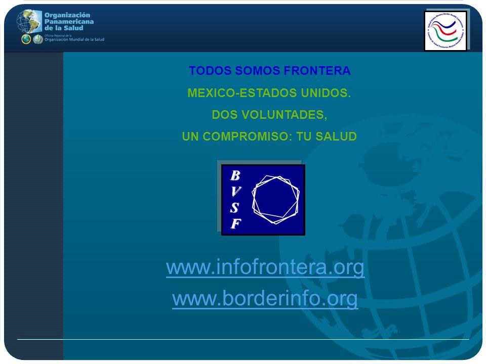 www.infofrontera.org www.borderinfo.org TODOS SOMOS FRONTERA MEXICO-ESTADOS UNIDOS. DOS VOLUNTADES, UN COMPROMISO: TU SALUD