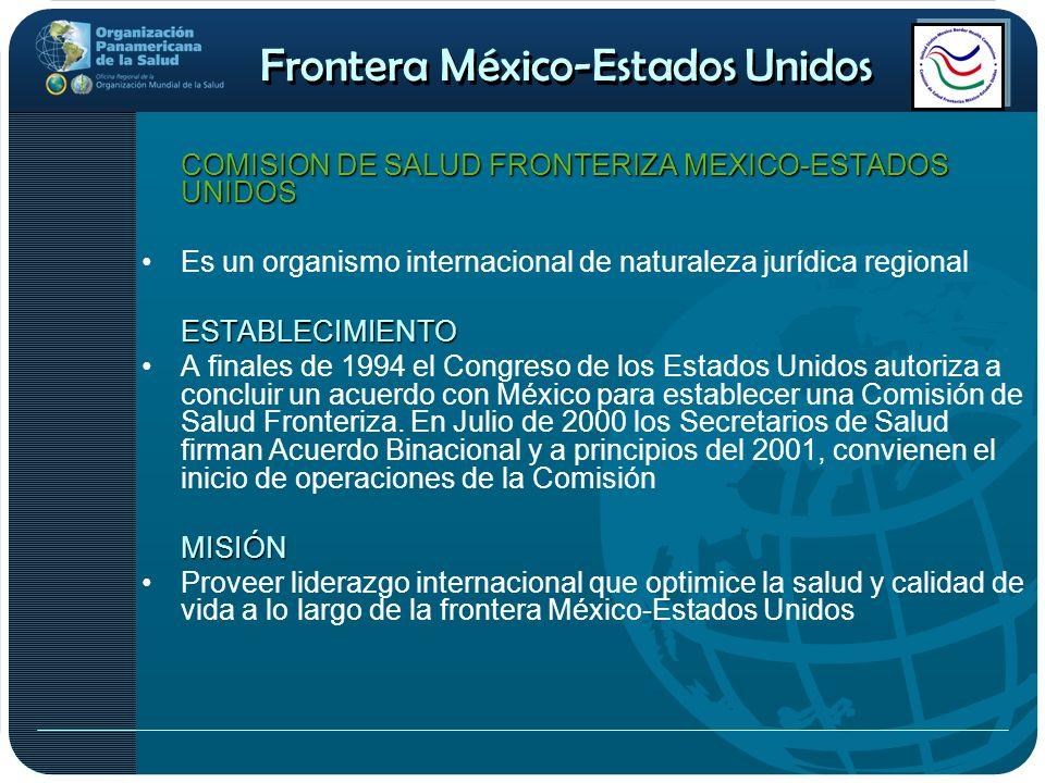 Frontera México-Estados Unidos COMISION DE SALUD FRONTERIZA MEXICO-ESTADOS UNIDOS Es un organismo internacional de naturaleza jurídica regionalESTABLE