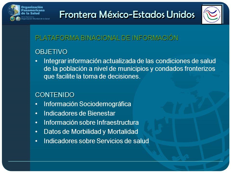 Frontera México-Estados Unidos PLATAFORMA BINACIONAL DE INFORMACIÓN OBJETIVO Integrar información actualizada de las condiciones de salud de la poblac