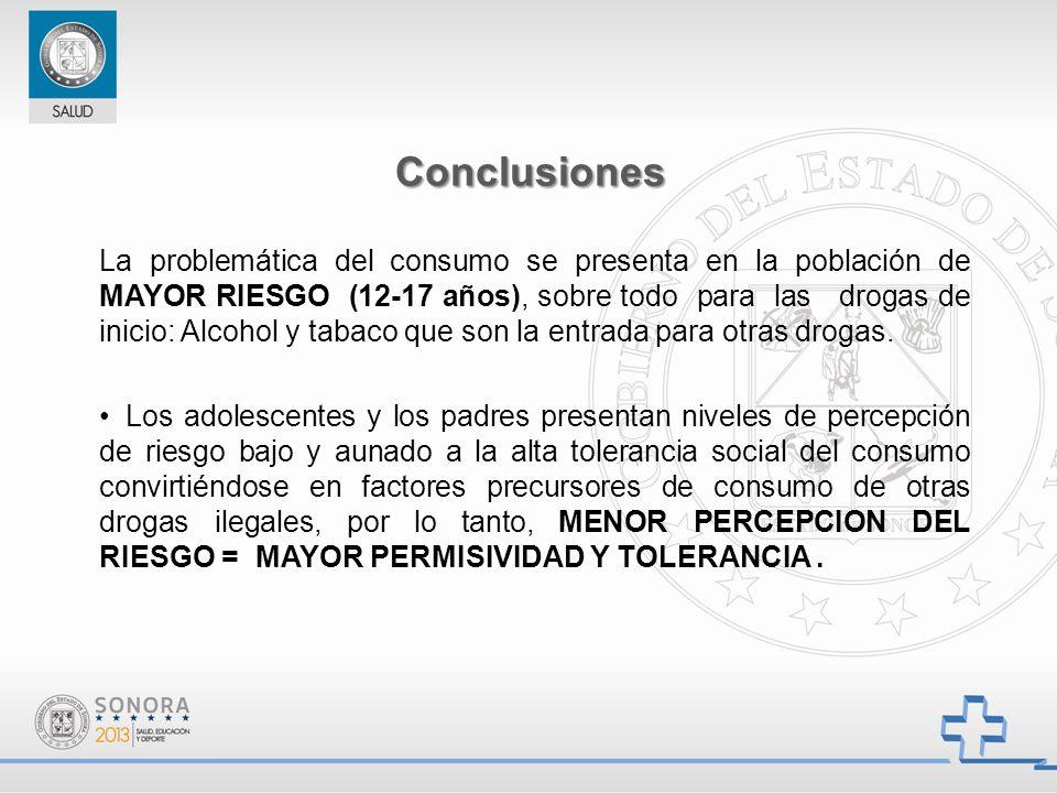La problemática del consumo se presenta en la población de MAYOR RIESGO (12-17 años), sobre todo para las drogas de inicio: Alcohol y tabaco que son l