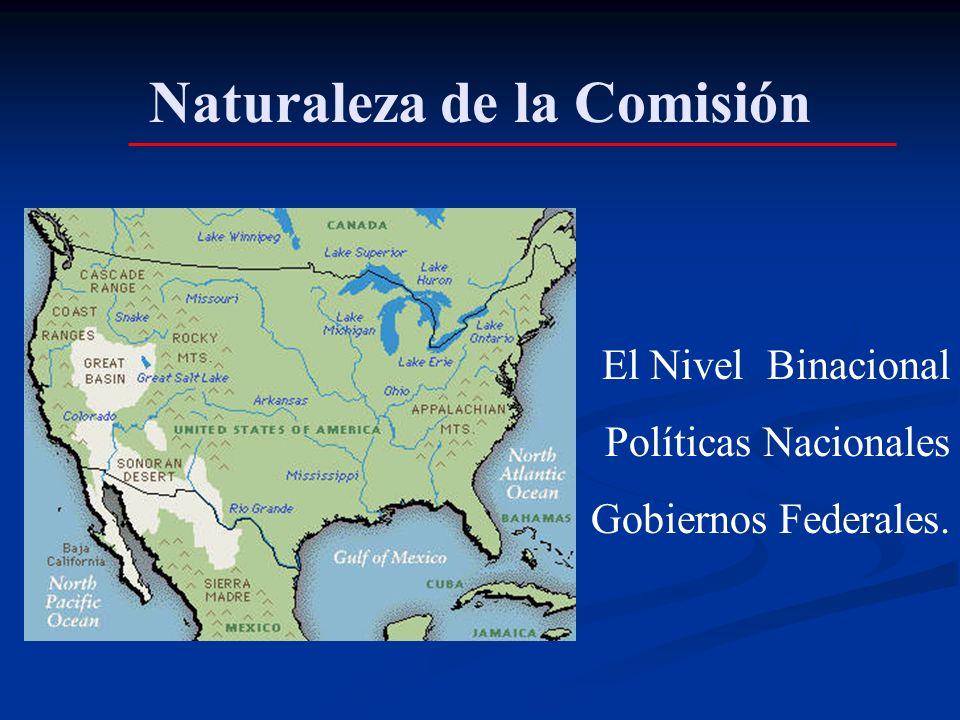 Naturaleza de la Comisión El Nivel Binacional Políticas Nacionales Gobiernos Federales.