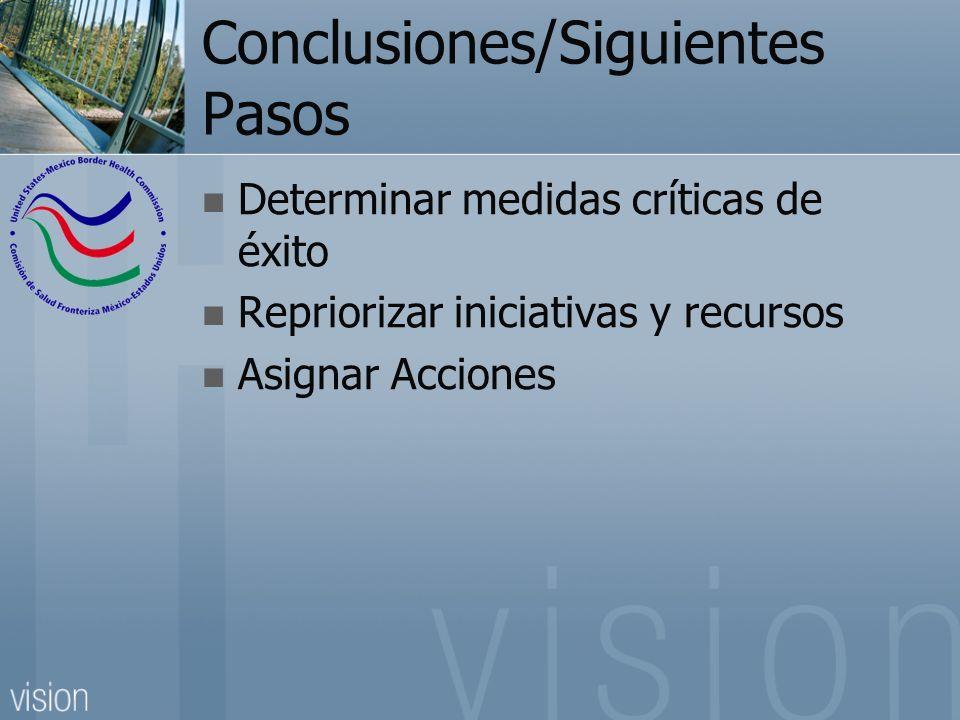 Conclusiones/Siguientes Pasos Determinar medidas críticas de éxito Repriorizar iniciativas y recursos Asignar Acciones