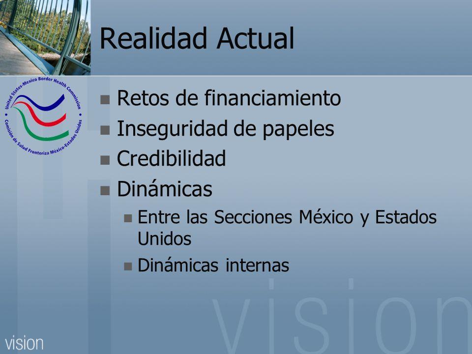 Realidad Actual Retos de financiamiento Inseguridad de papeles Credibilidad Dinámicas Entre las Secciones México y Estados Unidos Dinámicas internas