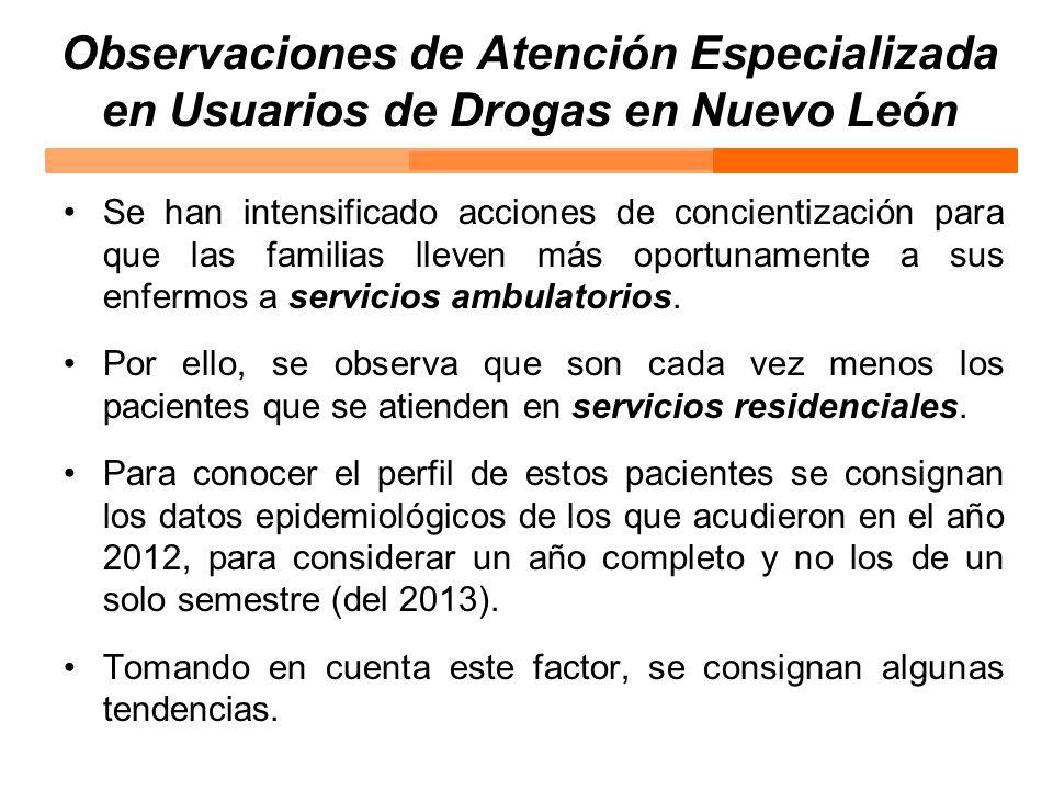 Observaciones de Atención Especializada en Usuarios de Drogas en Nuevo León Se han intensificado acciones de concientización para que las familias lle