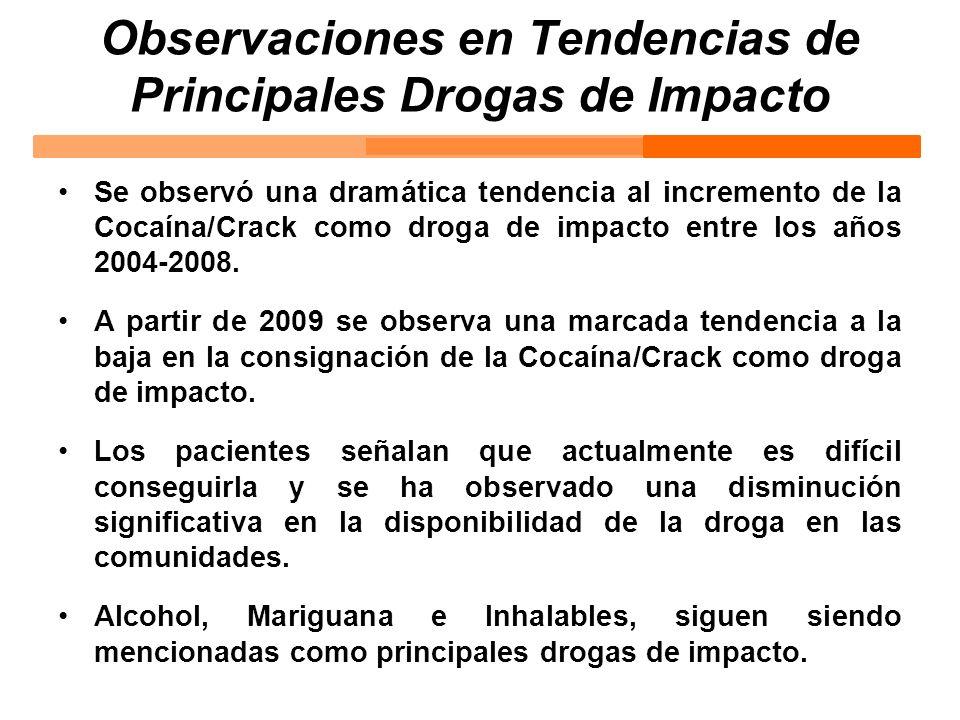 Observaciones en Tendencias de Principales Drogas de Impacto Se observó una dramática tendencia al incremento de la Cocaína/Crack como droga de impact