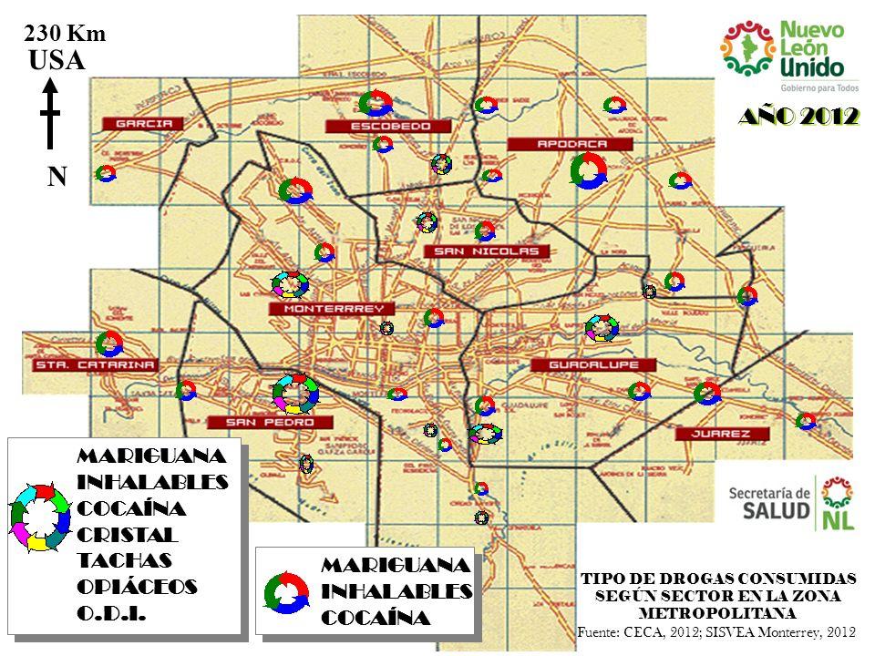 MARIGUANA INHALABLES COCAÍNA AÑO 2012 N USA 230 Km TIPO DE DROGAS CONSUMIDAS SEGÚN SECTOR EN LA ZONA METROPOLITANA MARIGUANA INHALABLES COCAÍNA CRISTA