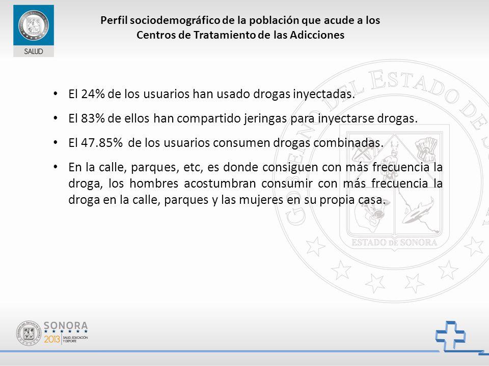 Perfil sociodemográfico de la población que acude a los Centros de Tratamiento de las Adicciones El 24% de los usuarios han usado drogas inyectadas.