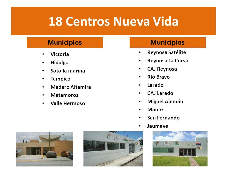 18 Centros Nueva Vida Municipios Victoria Hidalgo Soto la marina Tampico Madero Altamira Matamoros Valle Hermoso Municipios Reynosa Satélite Reynosa L