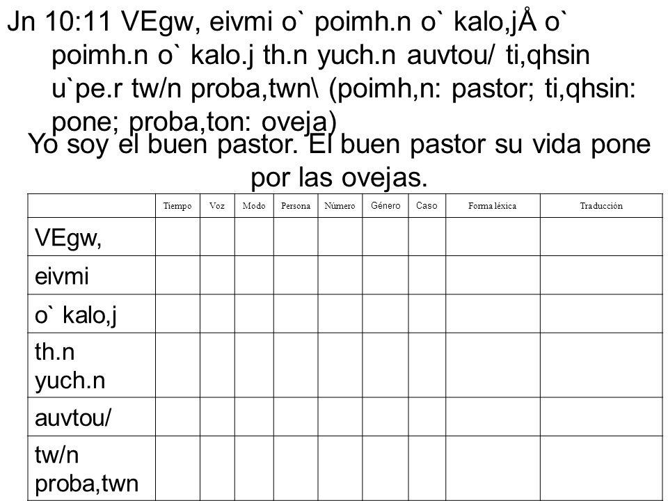 Jn 10:11 VEgw, eivmi o` poimh.n o` kalo,jÅ o` poimh.n o` kalo.j th.n yuch.n auvtou/ ti,qhsin u`pe.r tw/n proba,twn\ (poimh,n: pastor; ti,qhsin: pone;