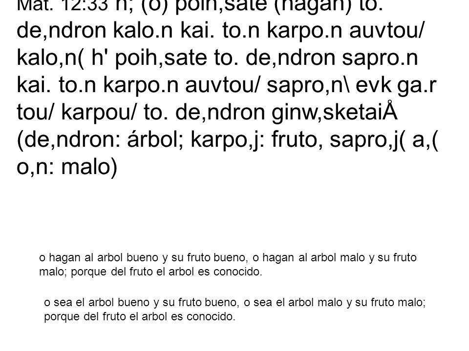 Mat. 12:33 h; (o) poih,sate (hagan) to. de,ndron kalo.n kai. to.n karpo.n auvtou/ kalo,n( h' poih,sate to. de,ndron sapro.n kai. to.n karpo.n auvtou/