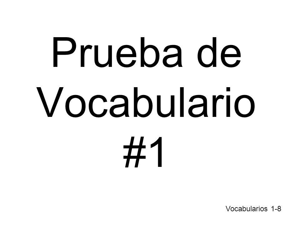 Prueba de Vocabulario #1 Vocabularios 1-8