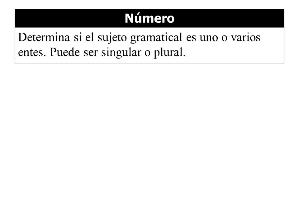 Número Determina si el sujeto gramatical es uno o varios entes. Puede ser singular o plural.