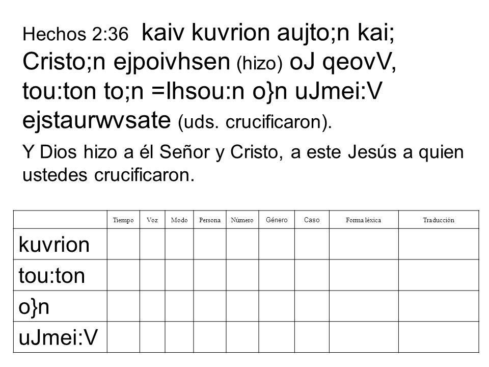 Hechos 2:36 kaiv kuvrion aujto;n kai; Cristo;n ejpoivhsen (hizo) oJ qeovV, tou:ton to;n =Ihsou:n o}n uJmei:V ejstaurwvsate (uds. crucificaron). Tiempo