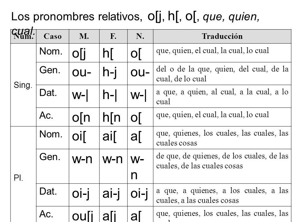 Núm.CasoM.F.N.Traducción Sing. Nom. o[jh[o[ que, quien, el cual, la cual, lo cual Gen. ou-h-jou- del o de la que, quien, del cual, de la cual, de lo c