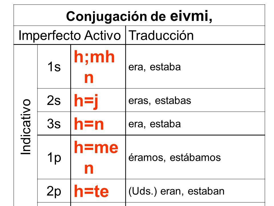 Conjugación de eivmi, Imperfecto ActivoTraducción 1s h;mh n era, estaba 2s h=j eras, estabas 3s h=n era, estaba 1p h=me n éramos, estábamos 2p h=te (U