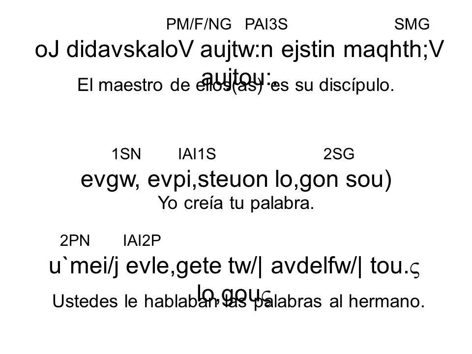 evgw, evpi,steuon lo,gon sou) Yo creía tu palabra. oJ didavskaloV aujtw:n ejstin maqhth;V aujtou:. El maestro de ellos(as) es su discípulo. PM/F/NGPAI