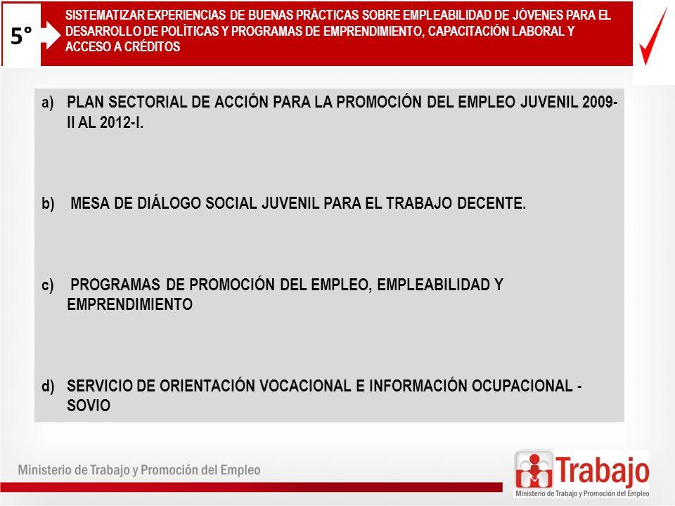 12 a)PLAN SECTORIAL DE ACCIÓN PARA LA PROMOCIÓN DEL EMPLEO JUVENIL 2009- II AL 2012-I. b) MESA DE DIÁLOGO SOCIAL JUVENIL PARA EL TRABAJO DECENTE. c) P