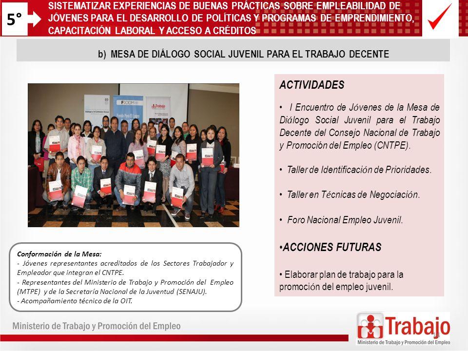 5° Conformación de la Mesa: - Jóvenes representantes acreditados de los Sectores Trabajador y Empleador que integran el CNTPE. - Representantes del Mi