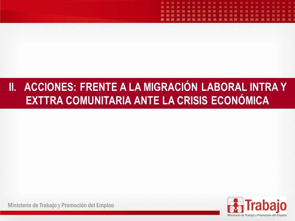 II. ACCIONES: FRENTE A LA MIGRACIÓN LABORAL INTRA Y EXTTRA COMUNITARIA ANTE LA CRISIS ECONÓMICA