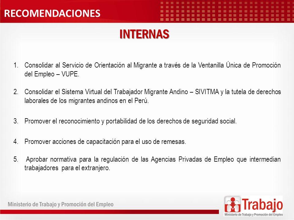 1.Consolidar al Servicio de Orientación al Migrante a través de la Ventanilla Única de Promoción del Empleo – VUPE. 2.Consolidar el Sistema Virtual de