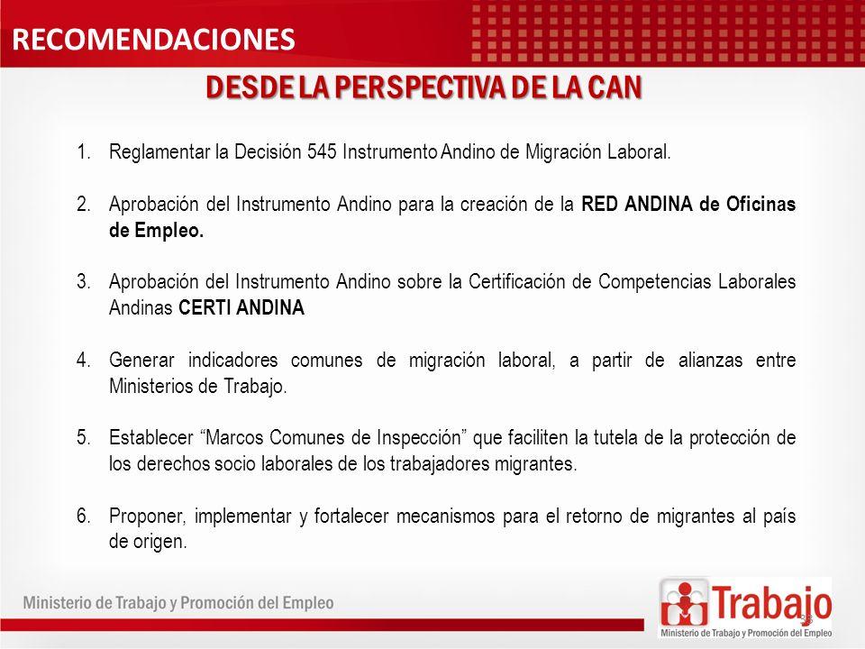 DESDE LA PERSPECTIVA DE LA CAN 1.Reglamentar la Decisión 545 Instrumento Andino de Migración Laboral. 2.Aprobación del Instrumento Andino para la crea