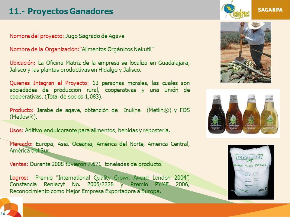 14 11.- Proyectos Ganadores Nombre del proyecto: Jugo Sagrado de Agave Nombre de la Organización:Alimentos Orgánicos Nekutli Ubicación: La Oficina Mat