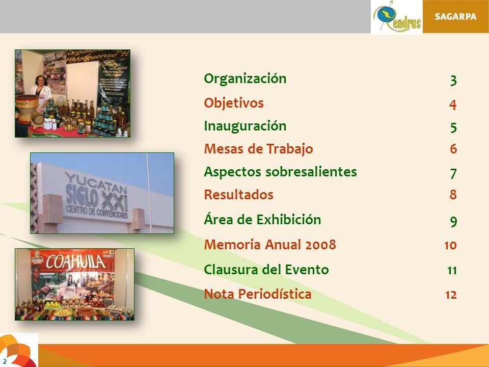 2 Organización3 Objetivos4 Inauguración5 Mesas de Trabajo6 Aspectos sobresalientes7 Resultados8 Área de Exhibición9 Memoria Anual 200810 Clausura del